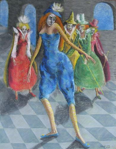 Benátsky karneval-Karneval začína, 2013,, 65 x 50 cm
