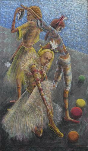 Benátsky karneval- Na nábreží, 103 x 61 cm, 2012 - 13 (5)