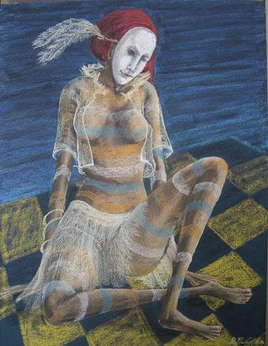 Benátsky karneval - Odpočívajúca, 2012, 65 x 50 cm