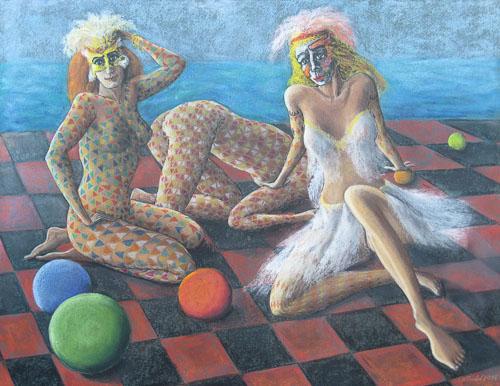 Benátsky karneval - Odpočívajúce, 2014 - 2015, 50 x 65 cm