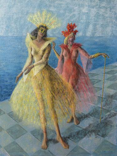 Benátsky karneval - Po nábreží, 65 x 50 cm, 2015 t