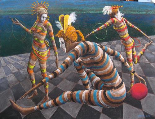 Benátsky karneval-Pri modrej lagune, 2013, 50 x 65 cm