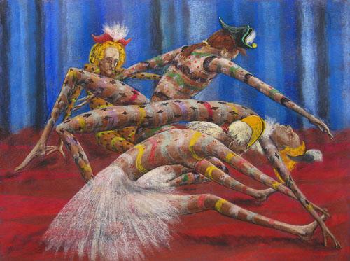 Benátsky karneval-Rozcvičenie sa, 2013, 50 x 65 cm