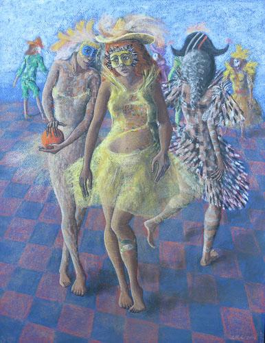 Benátsky karneval- Tančia po nábreží, 2014, 65 x 50 cm