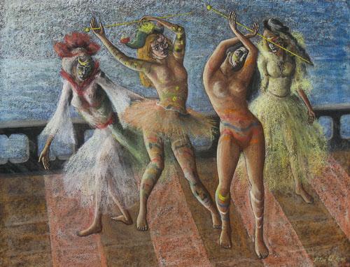 Benátsky karneval - Tančia po nábreží, 65 x 50 cm, 2015 (2)