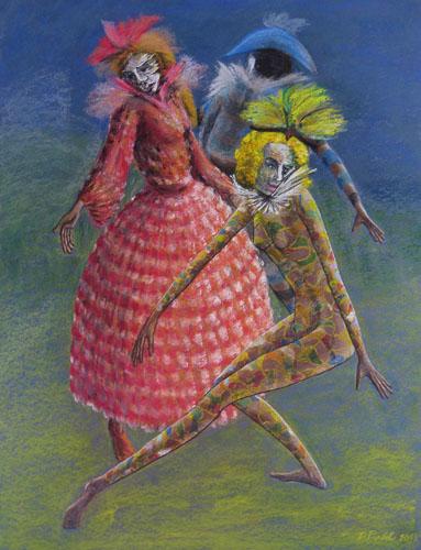 Benátsky karneval-Tančiaci, 2013,, 65 x 50 cm
