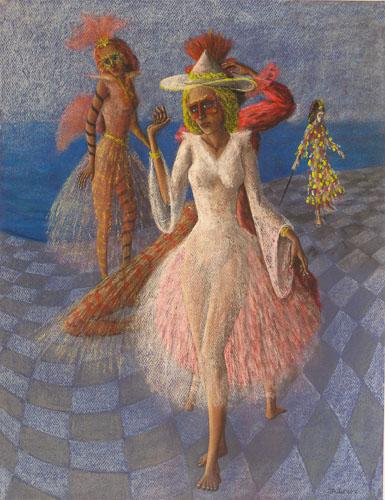 Benátsky karneval - Tanečníčky, 65 x 50 cm, r. 2016