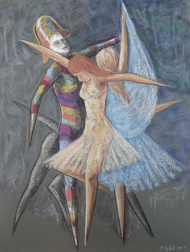Benátsky karneval - Tanec bábok, 2011, 65 x 50 cm