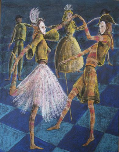 Benátsky karneval-Tanec pri mori, 2011,, 65 x 50 cm