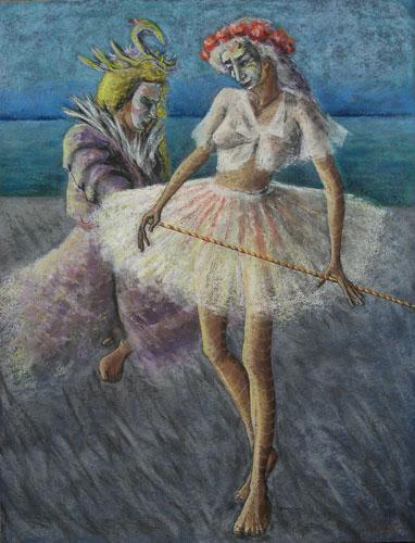 Benátsky karneval - Tanec s paličkou, 2014, 65 x 50 cm