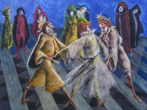 Benátsky karneval - Tanec v noci, 2012,, 50 x 65 cm