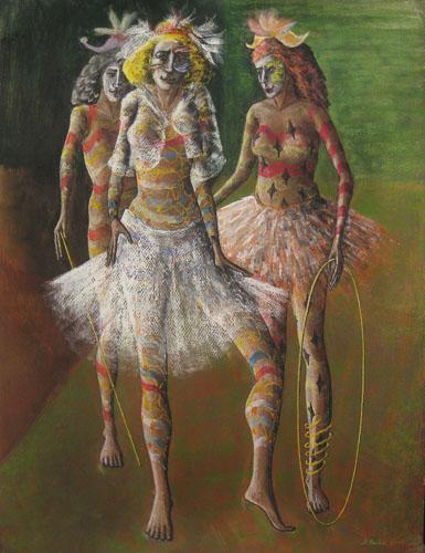 Benátsky karneval - Tri, 2014, 65 x 50 cm