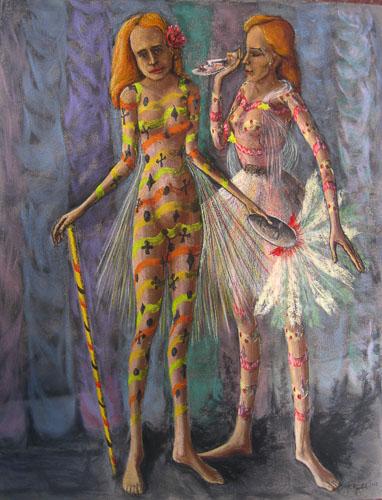 Benátsky karneval-Začíname, 2013,, 65 x 50 cm