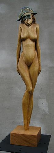 Drahomír Prihel, akad. sochár, Čakajúca, r. 2017, drevo - jaseň, 56,5 x 10 x 10 cm,