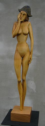 Drahomír Prihel, akad. sochár, Udiv, r. 2017, drevo - jaseň, 58,5 x 10 x 10 cm,