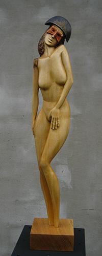 Drahomír Prihel, akad. sochár, V očakávaní, r. 2017, drevo - jaseň, 58,5 x 11 x 10 cm,