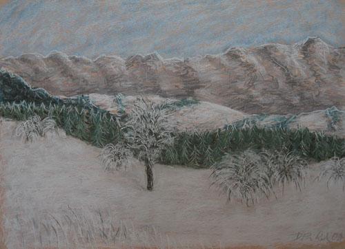 Kremnické vrchy zo Suchého vrchu, 2009, 45 x 61 cm