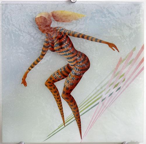 Lyžiarka, r. 2011, 75 x 75 cm
